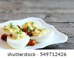 Tasty Deviled Eggs On A Plate...