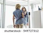happy businesswomen conversing