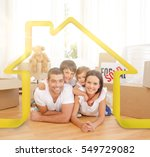 happy family after buying new... | Shutterstock . vector #549729082