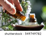 pour rosemary essential oil in... | Shutterstock . vector #549749782