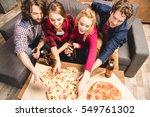 happy friends enjoying pizza at ... | Shutterstock . vector #549761302