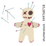 voodoo doll pierced with pins...   Shutterstock .eps vector #549768718