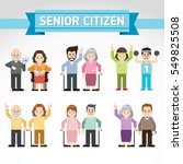 set of old people. senior man... | Shutterstock .eps vector #549825508