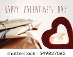 happy valentine's day text  on... | Shutterstock . vector #549827062