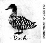poster duck cutting scheme... | Shutterstock .eps vector #549831142