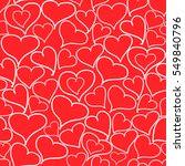 doodle hearts seamless pattern. ... | Shutterstock .eps vector #549840796
