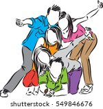happy group of friends... | Shutterstock .eps vector #549846676