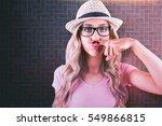 a beautiful hipster having a... | Shutterstock . vector #549866815