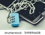 smartphone with lock padlock... | Shutterstock . vector #549896608