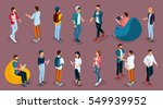 trendy isometric young people ... | Shutterstock .eps vector #549939952