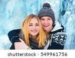 happy loving couple walking in... | Shutterstock . vector #549961756