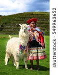 Small photo of Cuzco, Peru, CIRCA MARCH 2016. Full shot of peruvian woman wearing traditional custom and an alpaca in archaeological site of Sacsayhuaman.