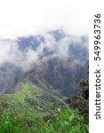 Small photo of High angle view of Inca city, Machu Picchu, Peru