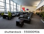 Small photo of Boryspil, Ukraine - NOVEMBER 01, 2016: Airport VIP lounge. Airport business class lounge. Airport interior. Airport waiting hall. Leather furniture.