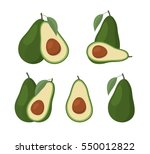 set of avocados isolated on...   Shutterstock .eps vector #550012822