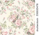 Stock photo seamless pattern bouquet bud roses and herbs no 550035478