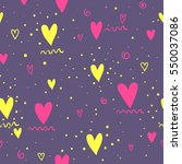 Tender purple background with pink, yellow hearts and dots. Abstract seamless love pattern. Valentines day backdrop. Cute romantic girlish repeated  backdrop for fashion clothes, wrapping paper