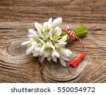 Bouquet Of Snowdrops On Wooden...