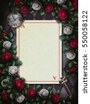 Stock photo alice in wonderland red roses and white roses on chess background clock and key playing card 550058122