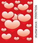 a lot of hearts on red | Shutterstock .eps vector #55007026