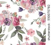 watercolor floral pattern on... | Shutterstock . vector #550070782