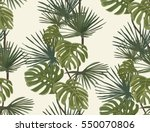 palm leaves. tropical print.... | Shutterstock .eps vector #550070806