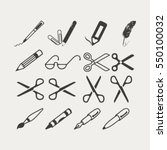 scissors  pens and pencils... | Shutterstock .eps vector #550100032