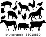 vector farm animals | Shutterstock .eps vector #55010890