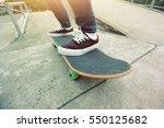 young skateboarder legs riding...   Shutterstock . vector #550125682