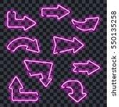 set of glowing purple neon...   Shutterstock .eps vector #550135258