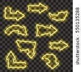 set of glowing yellow neon...   Shutterstock .eps vector #550135288