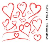 set of hand drawn heart shape... | Shutterstock .eps vector #550156348
