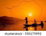 Silhouette Two Men Fishing On ...