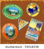 Vintage Travel Stickers Vector...
