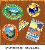 vintage travel stickers vector... | Shutterstock .eps vector #55018258