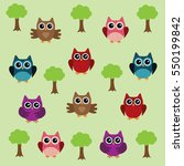 vector illustration of fun owls ... | Shutterstock .eps vector #550199842