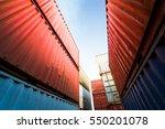 forklift truck lifting cargo... | Shutterstock . vector #550201078