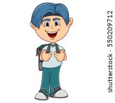 little boy with backpack... | Shutterstock . vector #550209712