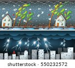 two scenes with thunders and... | Shutterstock .eps vector #550232572