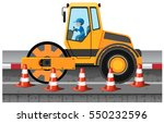 man driving road roller on the... | Shutterstock .eps vector #550232596