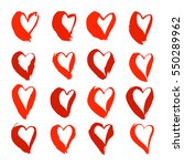set of red hand drawn hearts.... | Shutterstock .eps vector #550289962