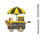food and drink vendor cart | Shutterstock . vector #550292482