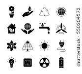 ecology and energy  icons. ...