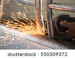welding steel with spread spark ... | Shutterstock . vector #550309372