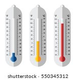 vector set of flat thermometer... | Shutterstock .eps vector #550345312