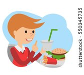 little boy with french fries in ... | Shutterstock .eps vector #550345735