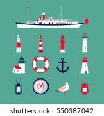 sea set with ship  lighthouses  ... | Shutterstock .eps vector #550387042
