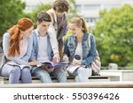 group of friends studying... | Shutterstock . vector #550396426