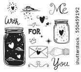 romantic vector elements. hand... | Shutterstock .eps vector #550459192