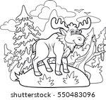 Funny Cartoon Moose Wanders...